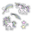 unicorn and magic wand sticker set vector image