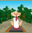 woman traveler floating on boat on river in jungle vector image vector image