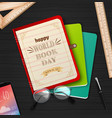 world book day with stack books vector image vector image