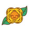 yellow flower kawaii cartoon natural vector image