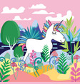beautiful magic forest scene with cute magical vector image