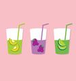 Set Of Fruit Juice Glasses vector image