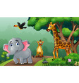 a different kind animals walking along forest vector image vector image