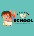 back to school flat poster boy lies and reading vector image vector image