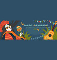 banner for mexican day dead with a female skeleton vector image