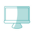 blue shading silhouette of lcd monitor vector image vector image