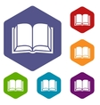 Book rhombus icons vector image vector image