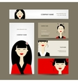 Business cards design with asian girls vector image