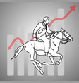 businessman ride a horse woth red arrow graph up vector image