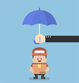 businessman with parcel box protected umbrella vector image vector image
