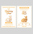 butchery shop poster with rabbit meat cutting vector image vector image