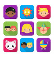 Childhood squared app icon set vector image vector image