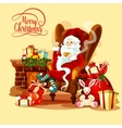 Christmas card with Santa sitting near fireplace vector image