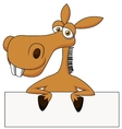 Cute donkey cartoon with blank sign vector image vector image