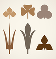 Decorative brown leaves pattern set isolated on vector image vector image