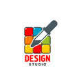 design studio icon of dropper on color vector image