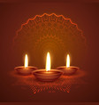 diwali festival diya beautiful background with vector image vector image