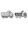 dump truck line and glyph icon transport and vector image