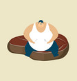 fat guy and steak glutton thick man and piece of vector image