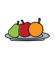 fruits apple pear and orange fresh in plate vector image vector image