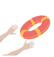 getting lifebuoy for help support and survival vector image vector image