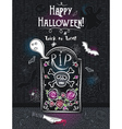 Halloween greeting card with ghost skull knife vector image vector image