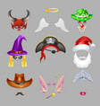 halloween or carnival masks photo effect isolated vector image