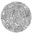 hippie hand drawn doodles round vector image vector image