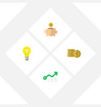 icon flat incoming set of coin idea arrow and vector image vector image