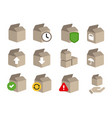 icon set of box cardboard transaction status step vector image