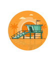 life guard house seaside icon in line art
