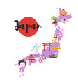 map with japanese national cultural symbols vector image