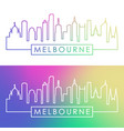melbourne skyline colorful linear style editable vector image vector image