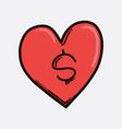 money in heart color icon drawing sketch hand vector image