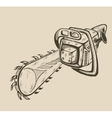 monochrome chainsaw vector image vector image