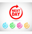next day icon set vector image vector image