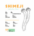 nutrition fact of shimeji mushrooms vector image vector image
