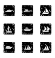 Ocean transport icons set grunge style vector image vector image
