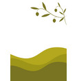 olive branch on landscape with curved olive lines vector image
