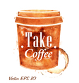 Painted plastic cup of coffee vector image vector image