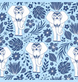 pattern with elephants and tropical flowers vector image vector image