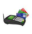 Payment terminal with color bank cards vector image