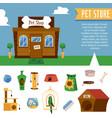 pet shop banner and animals care set flat cartoon vector image vector image