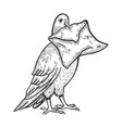 postal dove with letter sketch engraving vector image vector image