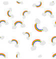 rainbow with clouds seamless pattern background vector image vector image