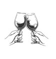 retro toasting hands vector image vector image
