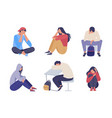 sad depressed people unhappy young girl guy vector image