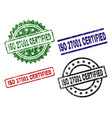 scratched textured iso 27001 certified stamp seals vector image