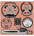 set labels on lumberjack working with wood vector image