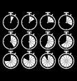 set of stopwatch time icons black vector image